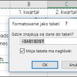 Przekształcanie zawartości komórek w wielu wierszach w kolumny w programie Excel